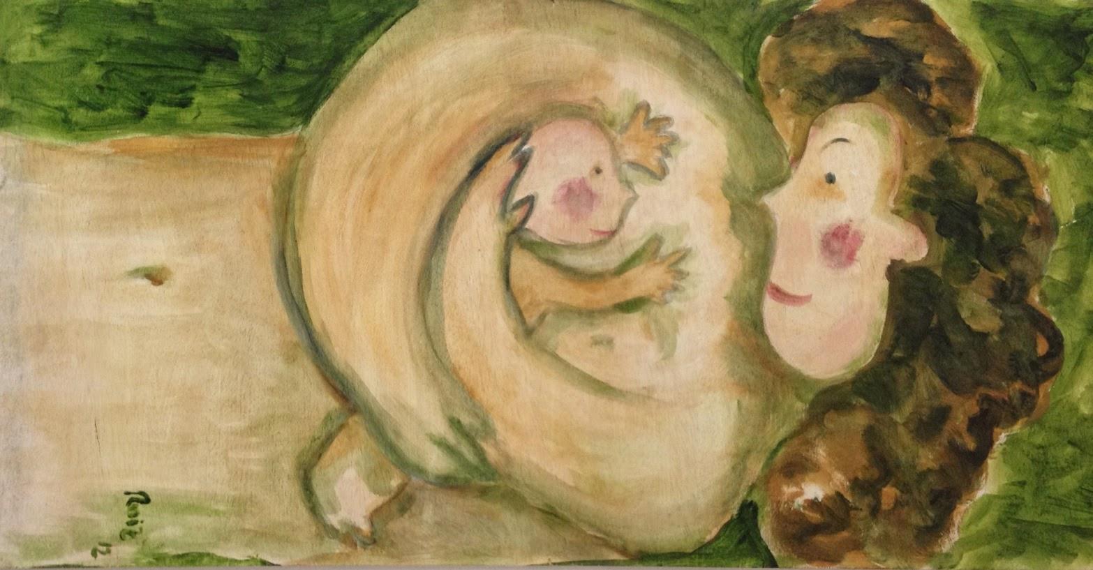 Pintura sobre tabla (100 x 50 cm) de Esther Ruiz Chercoles, pediatra y artista